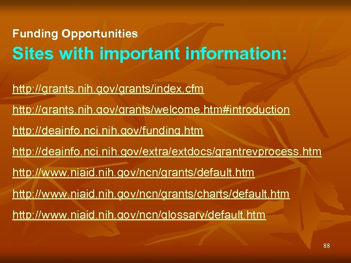 Funding Opportunities Sites with important information: http: //grants. nih. gov/grants/index. cfm http: //grants. nih.