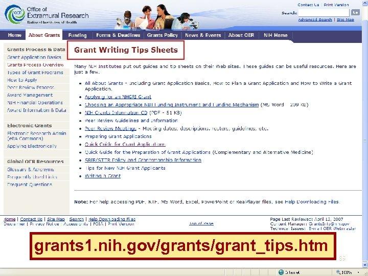 grants 1. nih. gov/grants/grant_tips. htm 89
