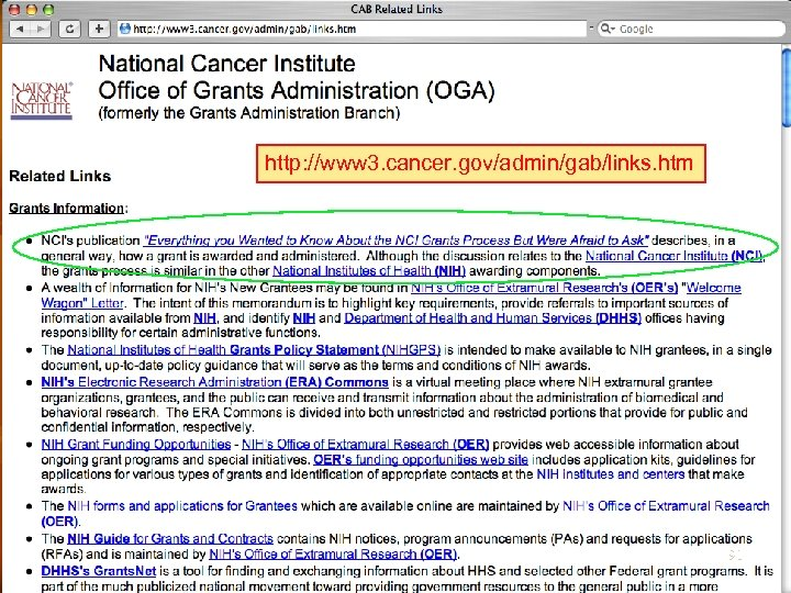 http: //www 3. cancer. gov/admin/gab/links. htm 91