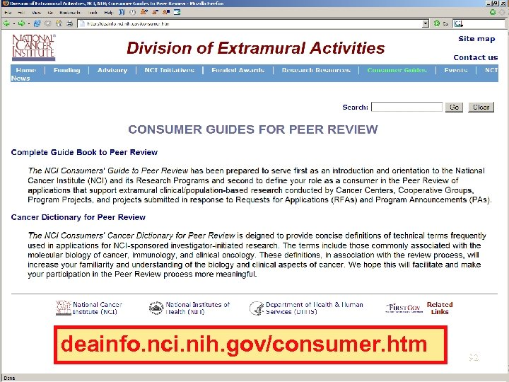 deainfo. nci. nih. gov/consumer. htm 92