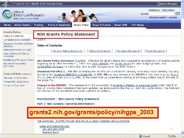 grants 2. nih. gov/grants/policy/nihgps_2003 99
