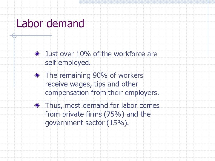 Labor demand Just over 10% of the workforce are self employed. The remaining 90%