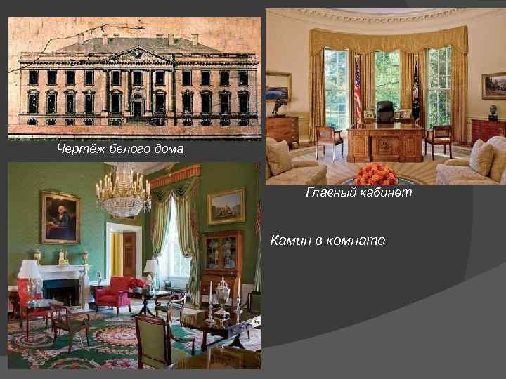 Чертёж белого дома Главный кабинет Камин в комнате