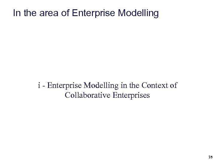 In the area of Enterprise Modelling i - Enterprise Modelling in the Context of