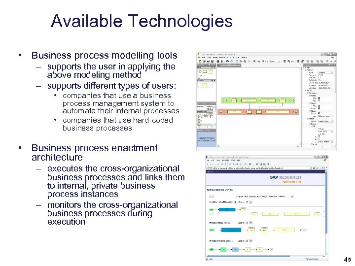 Available Technologies • Business process modelling tools – supports the user in applying the