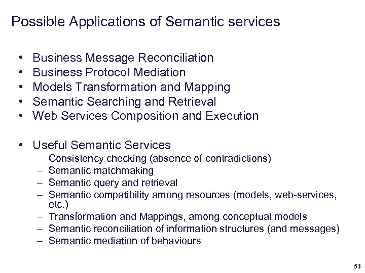 Possible Applications of Semantic services • • • Business Message Reconciliation Business Protocol Mediation