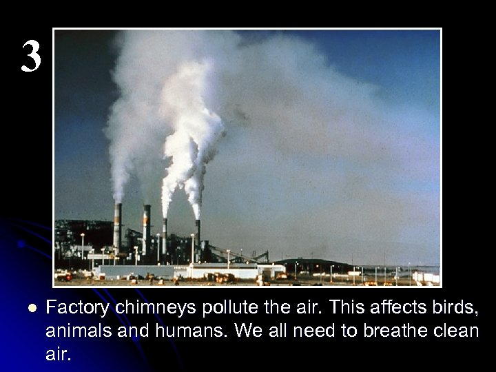 3 l Factory chimneys pollute the air. This affects birds, animals and humans. We