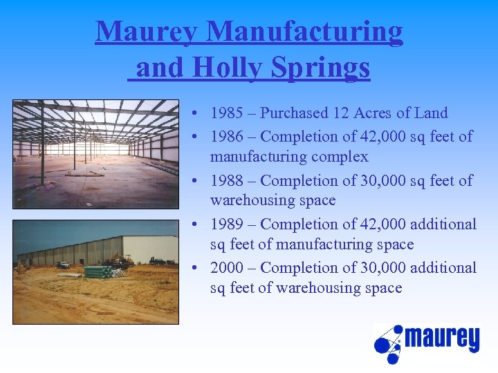 Maurey Manufacturing and Holly Springs • 1985 – Purchased 12 Acres of Land •