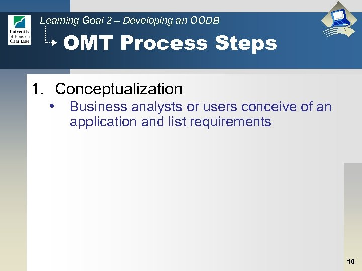 Learning Goal 2 – Developing an OODB OMT Process Steps 1. Conceptualization • Business