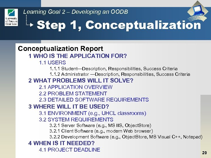 Learning Goal 2 – Developing an OODB Step 1, Conceptualization Report 1 WHO IS