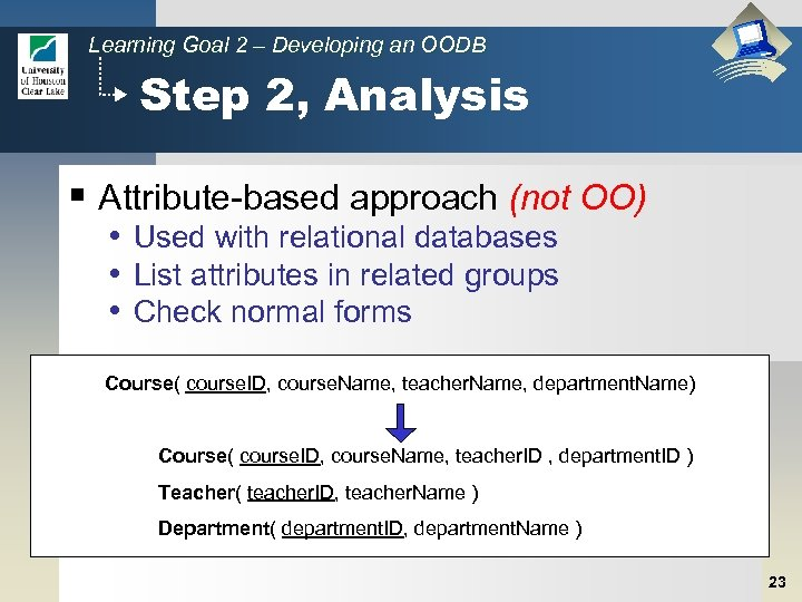 Learning Goal 2 – Developing an OODB Step 2, Analysis § Attribute-based approach (not