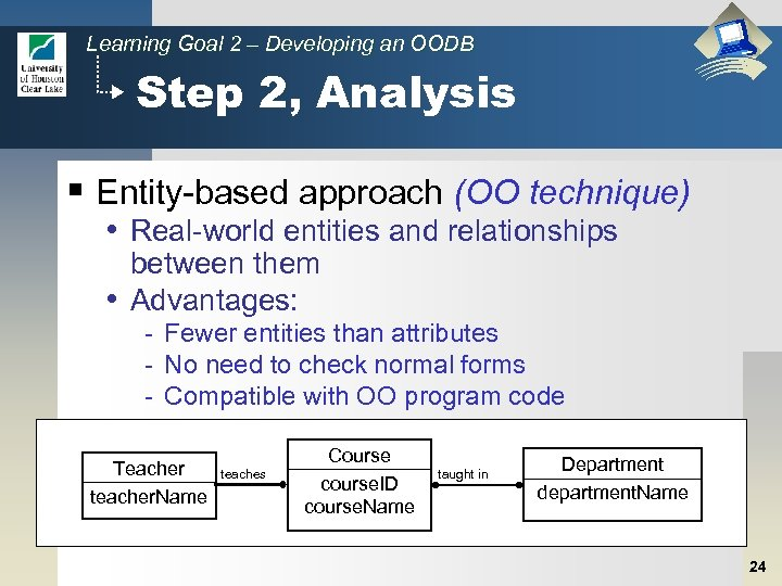 Learning Goal 2 – Developing an OODB Step 2, Analysis § Entity-based approach (OO