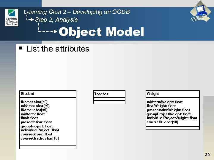 Learning Goal 2 – Developing an OODB Step 2, Analysis Object Model § List