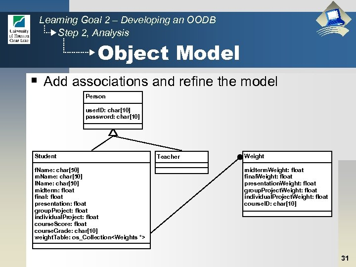 Learning Goal 2 – Developing an OODB Step 2, Analysis Object Model § Add
