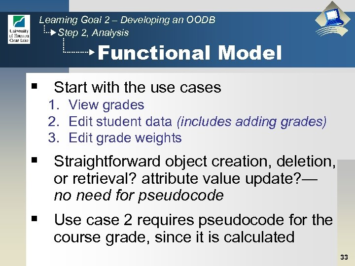 Learning Goal 2 – Developing an OODB Step 2, Analysis Functional Model § Start