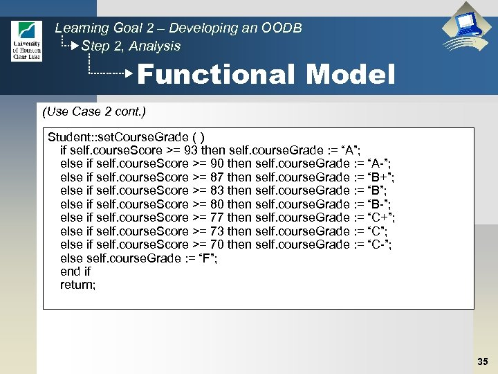 Learning Goal 2 – Developing an OODB Step 2, Analysis Functional Model (Use Case