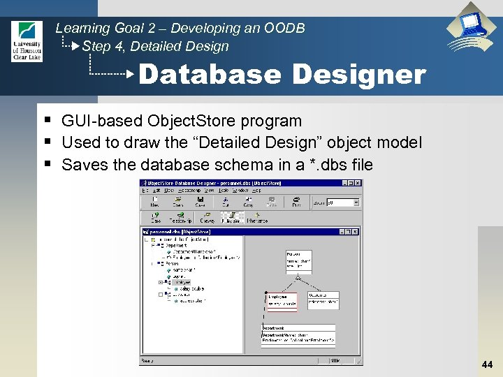 Learning Goal 2 – Developing an OODB Step 4, Detailed Design Database Designer §
