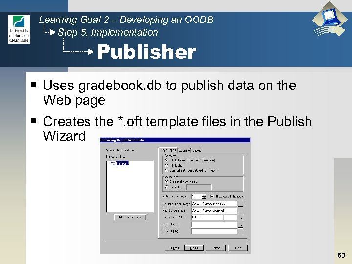 Learning Goal 2 – Developing an OODB Step 5, Implementation Publisher § Uses gradebook.