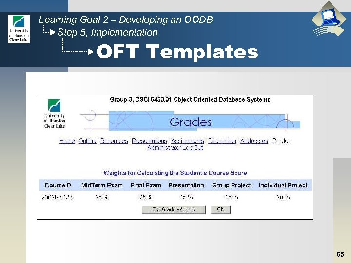 Learning Goal 2 – Developing an OODB Step 5, Implementation OFT Templates 65