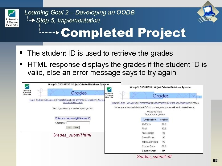 Learning Goal 2 – Developing an OODB Step 5, Implementation Completed Project § The