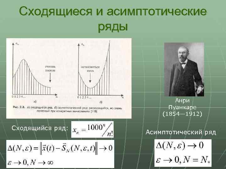 Сходящиеся и асимптотические ряды Анри Пуанкаре (1854— 1912) Сходящийся ряд: Асимптотический ряд