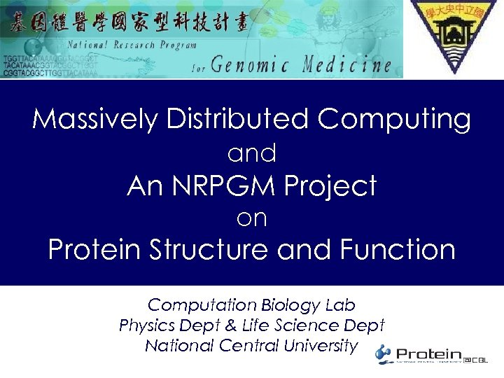 Massively Distributed Computing and An NRPGM Project on Protein Structure and Function Computation Biology