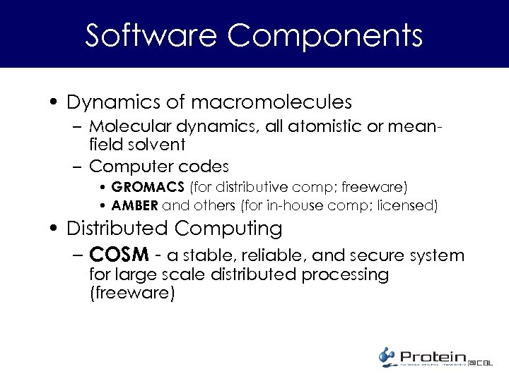 Software Components • Dynamics of macromolecules – Molecular dynamics, all atomistic or meanfield solvent