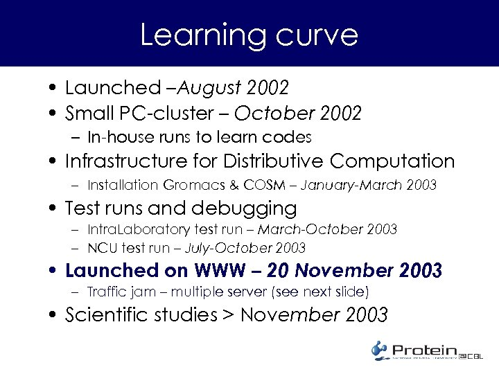 Learning curve • Launched –August 2002 • Small PC-cluster – October 2002 – In-house