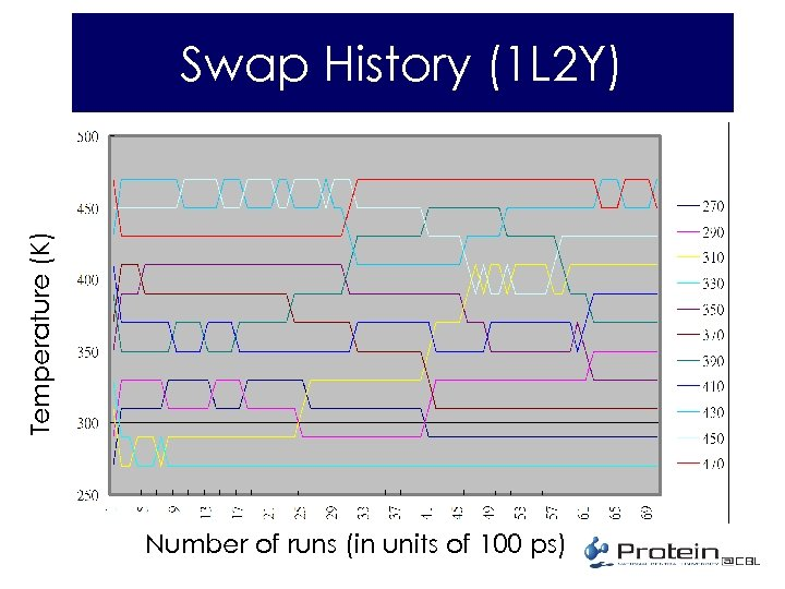 Temperature (K) Swap History (1 L 2 Y) Number of runs (in units of