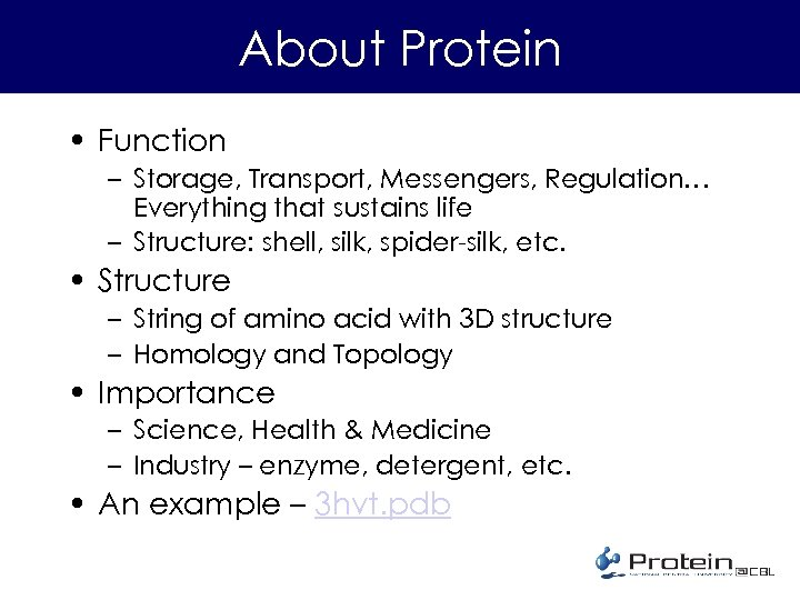 About Protein • Function – Storage, Transport, Messengers, Regulation… Everything that sustains life –