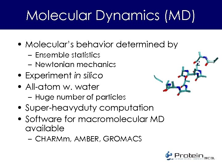 Molecular Dynamics (MD) • Molecular's behavior determined by – Ensemble statistics – Newtonian mechanics