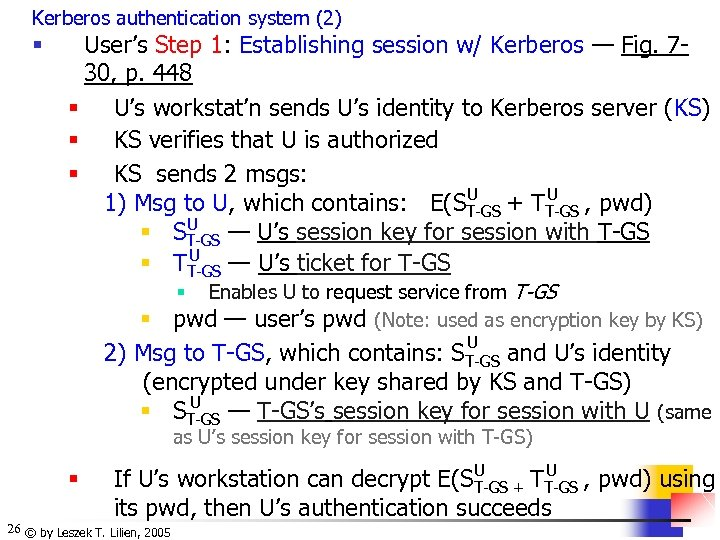 Kerberos authentication system (2) § User's Step 1: Establishing session w/ Kerberos — Fig.