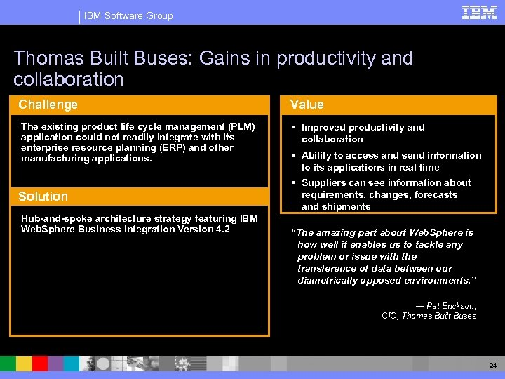 IBM Software Group Thomas Built Buses: Gains in productivity and collaboration Challenge The existing