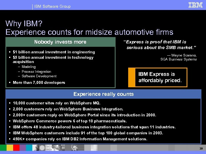 IBM Software Group Why IBM? Experience counts for midsize automotive firms Nobody invests more