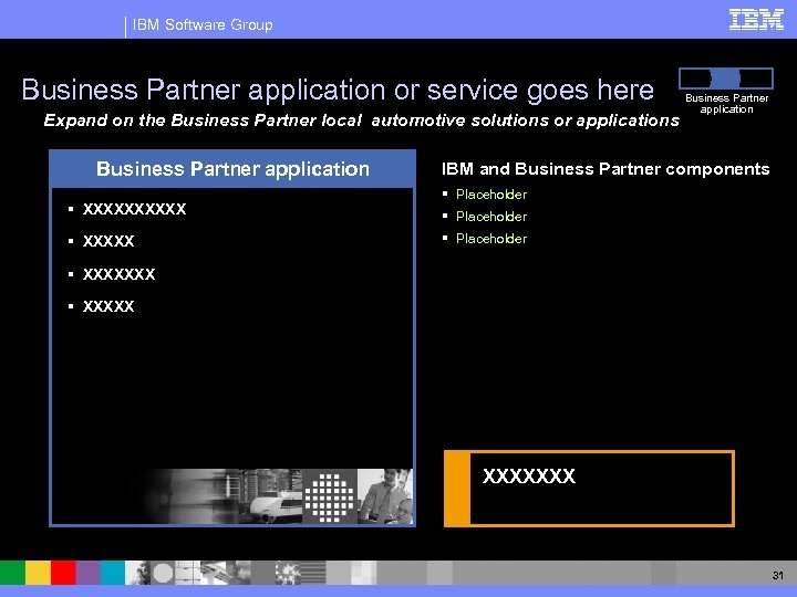 IBM Software Group Business Partner application or service goes here Expand on the Business