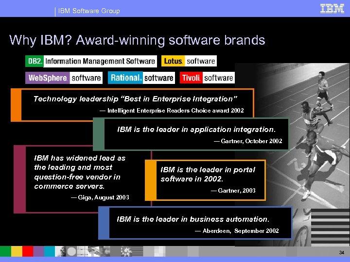 "IBM Software Group Why IBM? Award-winning software brands Technology leadership ""Best in Enterprise Integration"""