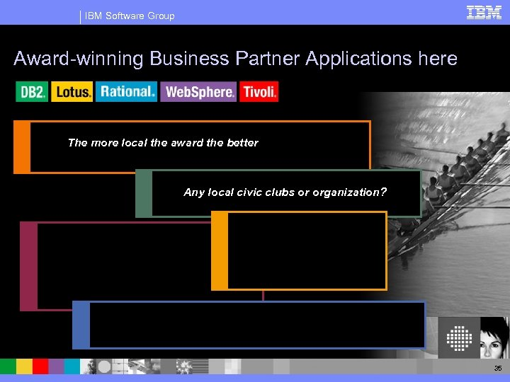 IBM Software Group Award-winning Business Partner Applications here The more local the award the