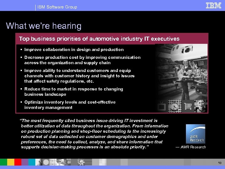IBM Software Group What we're hearing Top business priorities of automotive industry IT executives
