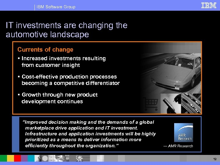 IBM Software Group IT investments are changing the automotive landscape Currents of change §