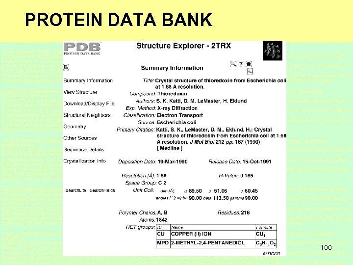 PROTEIN DATA BANK 100