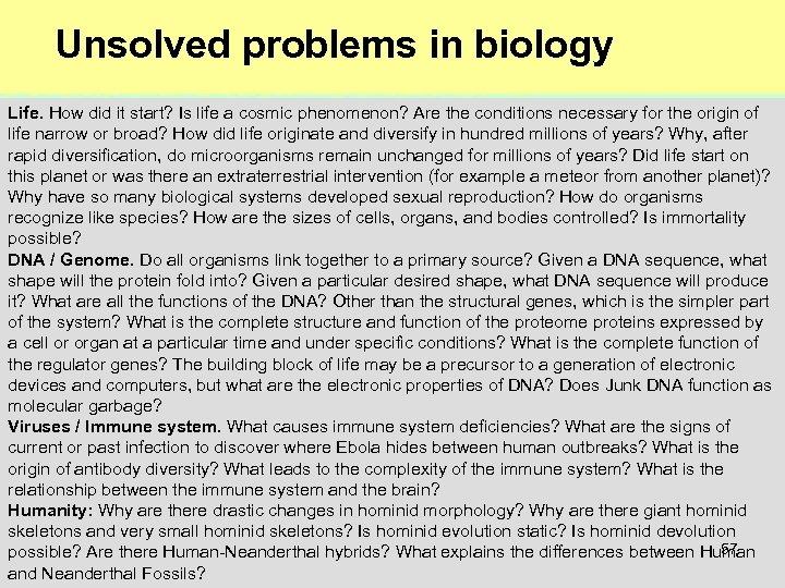 Unsolved problems in biology Life. How did it start? Is life a cosmic phenomenon?