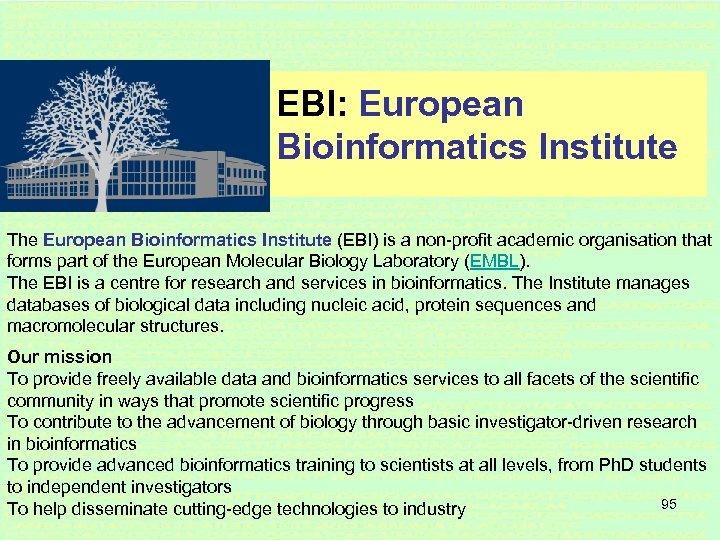 EBI: European Bioinformatics Institute The European Bioinformatics Institute (EBI) is a non-profit academic organisation