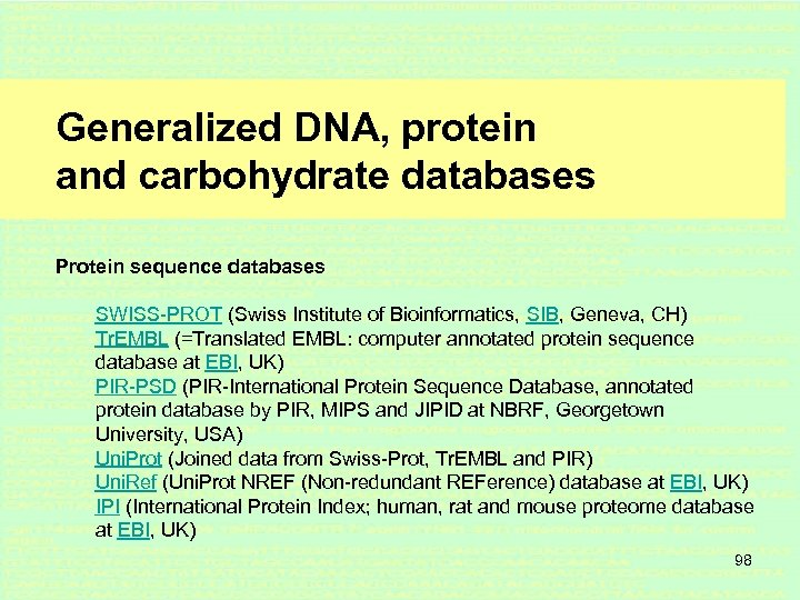 Generalized DNA, protein and carbohydrate databases Protein sequence databases SWISS-PROT (Swiss Institute of Bioinformatics,
