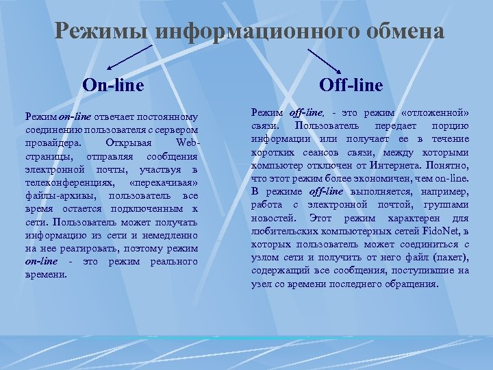Режимы информационного обмена On-line Режим on-line отвечает постоянному соединению пользователя с сервером провайдера. Открывая