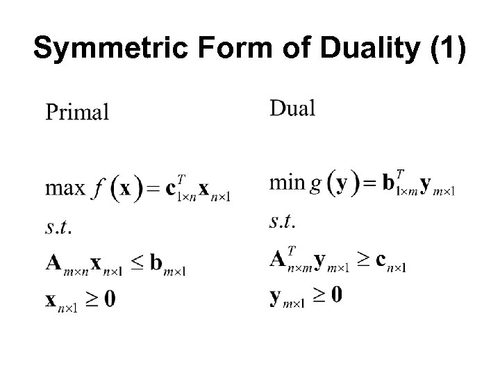 Symmetric Form of Duality (1)