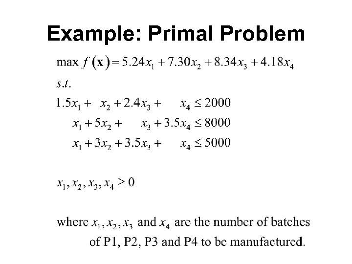 Example: Primal Problem