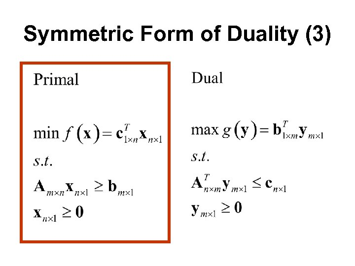 Symmetric Form of Duality (3)