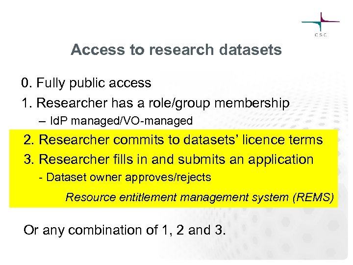 Access to research datasets 0. Fully public access 1. Researcher has a role/group membership