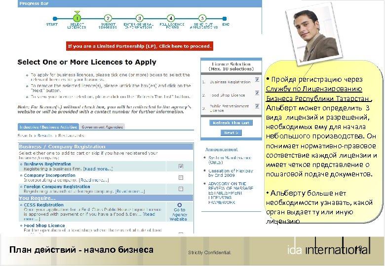 • Пройдя регистрацию через Службу по Лицензированию Бизнеса Республики Татарстан , Альберт может