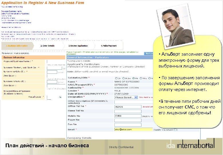 • Альберт заполняет одну электронную форму для трех выбранных лицензий. • По завершению